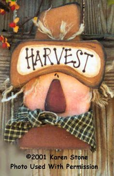 000186 (6) Harvest Scarecrow Heads-Scarecrow, wood crafts, Karen Stone, wood sign, wreath