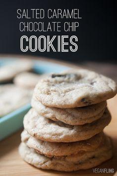 Salted Caramel Chocolate Chip Cookies #vegan