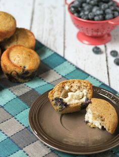 Blueberry Pancake Muffins with Cream Cheese Filling on RachelCooks.com