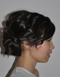 Tousled, loose updo