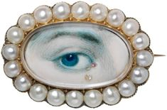 Another Lover's Eye - hand painted miniatures of single human eyes set in jewelry