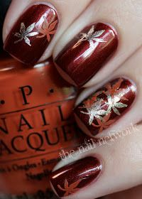 Fall nail art Hello Autumn! (OPI Romeo & Joliet)
