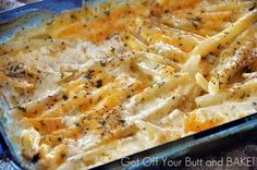 Creamy Cheesy Potatoes.These are SOOO GOOOOD! And they are soooo easy. MAKE sure to season them enough! This is a great side for a steak dinner if you are bored with the baked potato. They re-heat great IF you use the oven to re-heat them