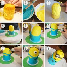 Despicable ME Theme: Minion Cupcake Tutorial. awesome. i could do this.