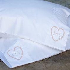 Sweetheart Bedding. Love the cute monogram on the pillowcase