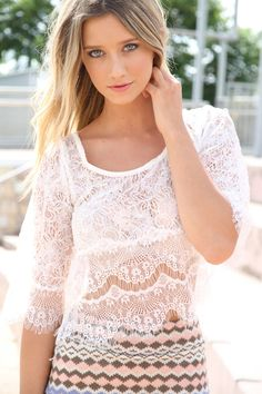 Lace Scalloped Top