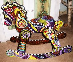 Painted Wood Rocking Horse by ArtziFartzi on Etsy, $185.00