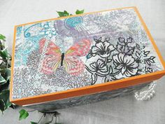 Decoupaged Jewelry box upcycled modern vintage by PillowtasticPlus, $24.00