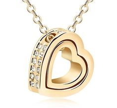 Double Love Heart Shape Pendant Necklace, Crystal From Swarovski Jewelry