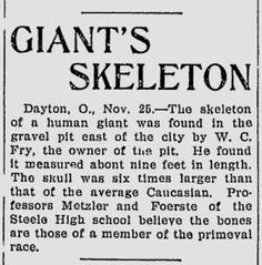 9 Foot Nephilim Giant Uncovered East of Dayton, Ohio