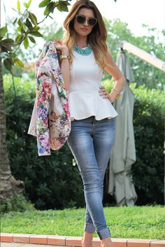 Floral blazer & white peplum with turquoise necklace