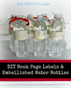 Book Page Labeled and Embellished Water Bottles