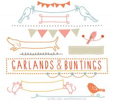 garlands and buntings clipart set by little cube for The Ink Nest.