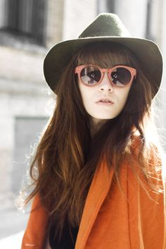 . hats, fashion, city chic, color, burnt orange, sunglass, winter layers, shade, coat