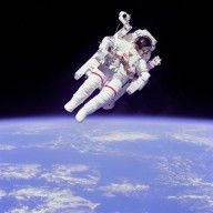 Spacewalk from the Space Shuttle, April 1983.  Astronaut Bruce McCandless II