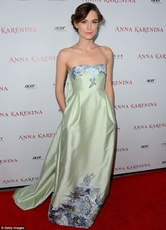 Green goddess: Keira Knightley wears a strapless green gown to the Los Angeles premiere of Anna Karenina