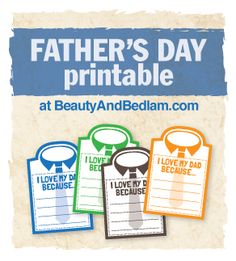 I Love My Dad Because... Free Father's Day Printable from @jen (Balancing Beauty and Bedlam blog | Father's Day Crafts