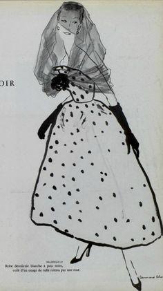 1954 Balenciaga boceto de, fashion art, 1954 balenciaga, de moda, cristob balenciaga