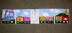 """Four-page train, with clever """"hinging"""" pages so that it all folds out into one train!"""
