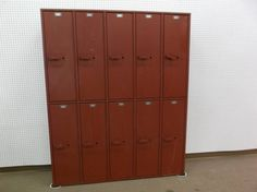 """SOLD - This is a set of vintage industrial lockers - """"Art Metal Products"""" Arlington Heights IL. ***** In Booth M117 at Main Street Antique Row 7336 E Main St (east of Power RD on MAIN STREET) Mesa Az 85207 **** Open 7 days a week 10:00AM-5:30PM **** Call for more information 480 924 1133 **** We Accept cash, debit, VISA, MasterCard or Discover."""