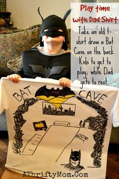 Batman Cave Shirt, Fun way for kids to play with Dad... kids play Dad gets to rest #Batman, #DIY, #Kids,