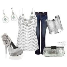 """""""Night out"""" sparkle the night away fashion, cloth, style, pump, night, jean outfits, polyvore, closet, shoe"""