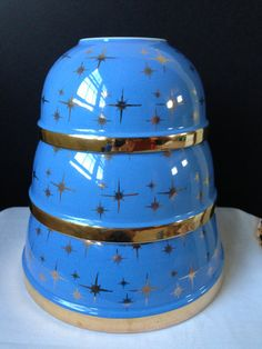 Hall's China - Kitchenware - Gold Label - Cadet Blue - Starbursts - 1950's