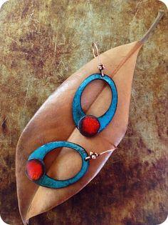 copper earring, enamel