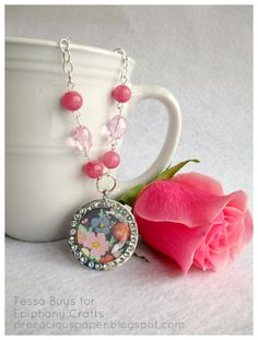 Necklace made with the #epiphanycrafts Shape Studio Tool Round 25 and Rhinestone Charms.