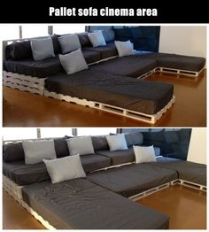 Doing this in a theater room instead of big individual chairs would make for a much more enjoyable movie experience. diy movie room, diy movie theater room, movie theater room diy, movie rooms, theater rooms, movie theater room decor, diy theater room ideas, movie room ideas diy, pallet theater seating