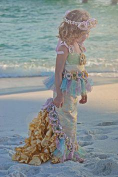 OCEAN'S SECRET MERMAID Costume-Dress Up, Portraits, Birthday, Pageant, Halloween-Little Girls (sizes 2-8)
