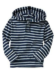 Indigo striped pullover hoodie