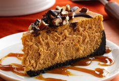 Turtle Pumpkin Cheesecake Recipe    INGREDIENTS:    Crust    1 1/2 cups thin chocolate wafer cookie crumbs (about 30 cookies)  1/4 cup butter or margarine, melted    Filling    1/4 cup all-purpose flour  2 teaspoons pumpkin pie spice  1 can (15 oz) pumpkin (not pumpkin pie mix)  4 packages (8 oz each) cream cheese, softened  1 cup packed brown sugar  2/3 cup granulated sugar  5 eggs    Topping    1/2 cup chopped pecans, toasted*  2 oz bittersweet baking chocolate, coarsely chopped  1 tablespoon vegetable oil  1 cup ...