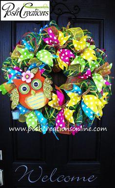 Summer Mesh Wreath Owl Wreath Spring Mesh by poshcreationsKY, $65.00