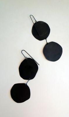 // Oxidized Silver Pancake Earrings
