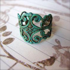 ☮ American Hippie Bohemian Style ~ Boho Filigree Ring  Boho Jewelry Patina .. PaganucciDesigns