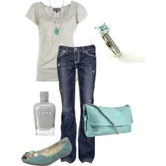 """""""aqua and silver"""" by kswirsding on Polyvore"""