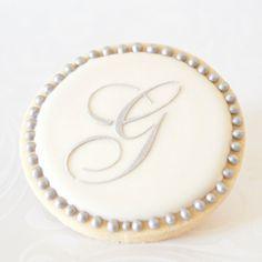 Wedding Cookie Favors - Silver Monogram Letter - 1 doz. - Bridal Shower - Vintage Script Initial Personalized