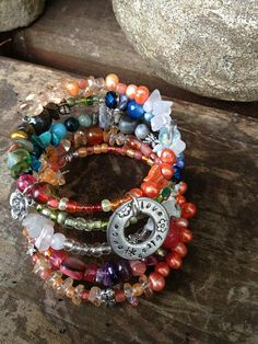 Peace Love Bliss five wrap memory wire beaded by DFInspirations, $40.00