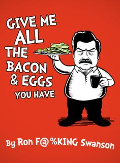 """I'm worried that what you heard was, """"Give me a lot of bacon and eggs."""" amus shit, rec, laugh, ron swanson, funni, parks, hilari, book, egg"""