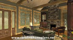 A Warm and Welcoming Great Room - Small stone craftsman cottage plan SG-981-AMS.