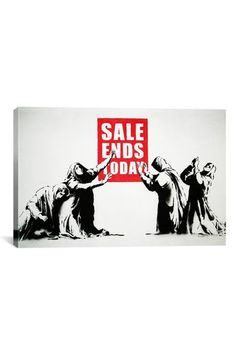 Banksy Sale Ends Today 18in x 12in Canvas Print