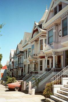 stunning places, sanfrancisco, souvenir, victorian houses