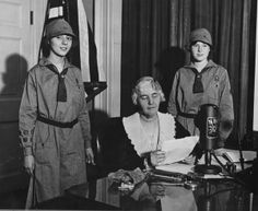 Lou Henry Hoover speaking from the President's Study in the White House on a special #GirlScouts program. Lou's involvement with the Girl Scouts began during World War I, when she was asked to be a troop leader for a Washington, DC, scout troop.  When Hoover joined the cabinet in 1921, Lou became even more active in the Girl Scouts. Lou received her pin from Girl Scout Founder Juliette Gordon Low in 1917.