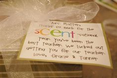 Cute gift for the teacher.  It's a Scentsy system inside.
