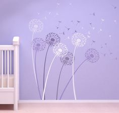 What I want to do for my baby girls room!!!  Stencil Dandelion size MED - Reusable wall stencils  better than decals. $24.95, via Etsy.