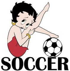 For more Betty Boop graphics and greetings, go to: http://bettybooppicturesarchive.blogspot.com/ Betty Boop posing with a soccer ball #bettyboop