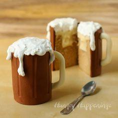 Root Beer Mug Cakes filled with Vanilla Ice Cream Ganache | HungryHappenings.com