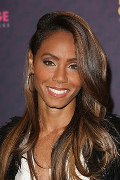 highlighted, side part, long tresses