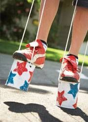 Tin can stilts, 4th of July crafts